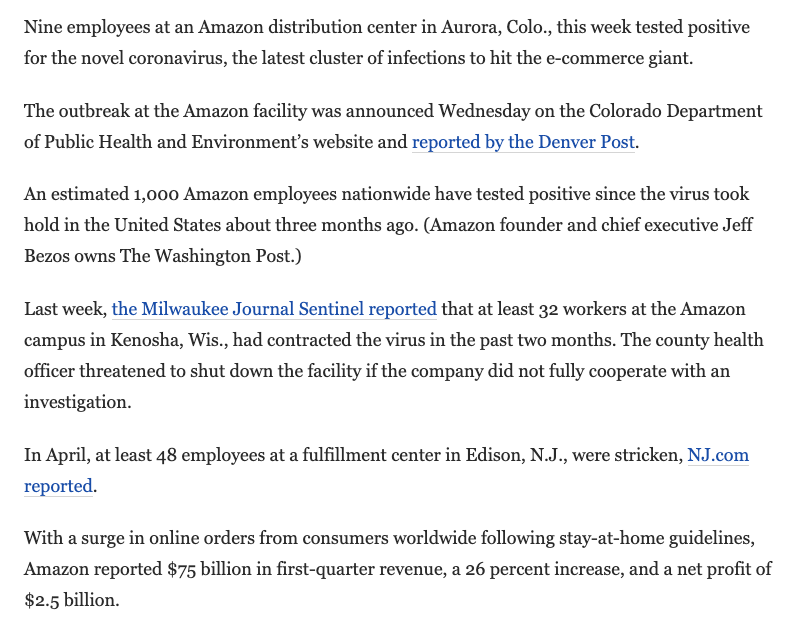 Nine workers at Amazon warehouse in Aurora, Colorado test positive for Covid-19 Over 1,000 Amazon workers have contracted Covid-19, including 32 in Kenosha, Wisconsin, and 48 in Edison, NJ. washingtonpost.com/nation/2020/05…