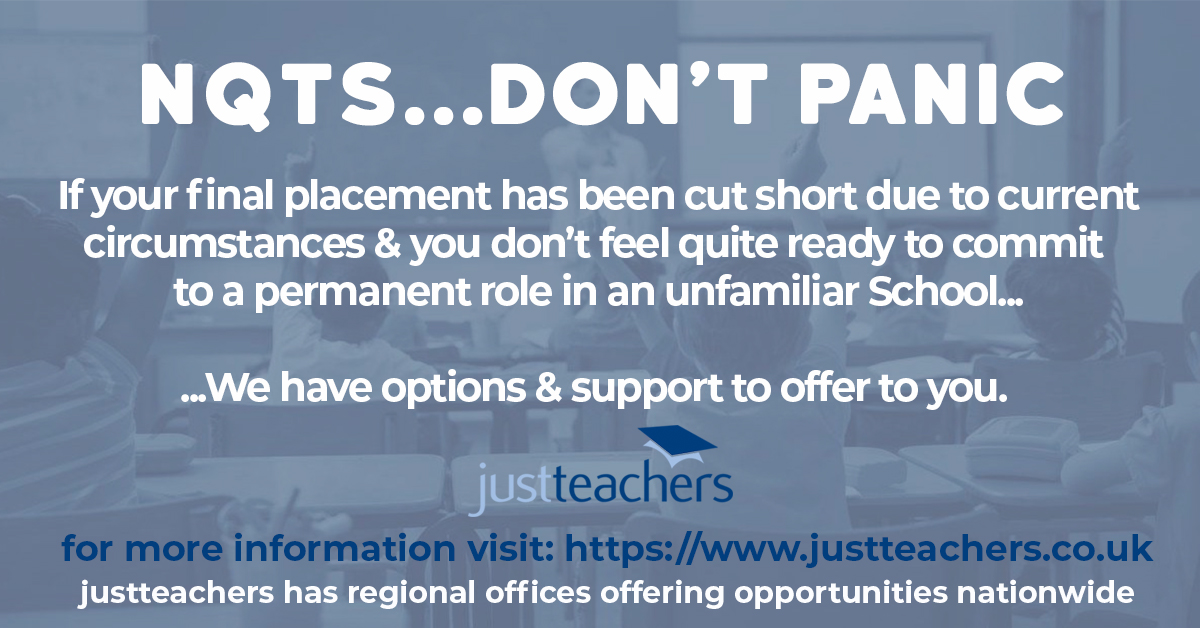 test Twitter Media - Where final placements have been cut short/not taken place at all, NQTs may feel reluctant to apply for permanent jobs due to lack of hands-on experience. Justteachers has solutions for you to gain valuable experience within the classroom.   Visit: https://t.co/mnMbHQt7yV #NQTs https://t.co/ivjgvP88nV