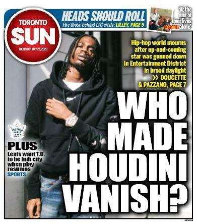WHO MADE HOUDINI VANISH?: Hip-hop world mourns after up-and-coming star gunned down in downtown Toronto in broad daylight https://t.co/txsrgVTQT8 Via @SunDoucette and @SamPazzano. https://t.co/ZhRd2APEgy