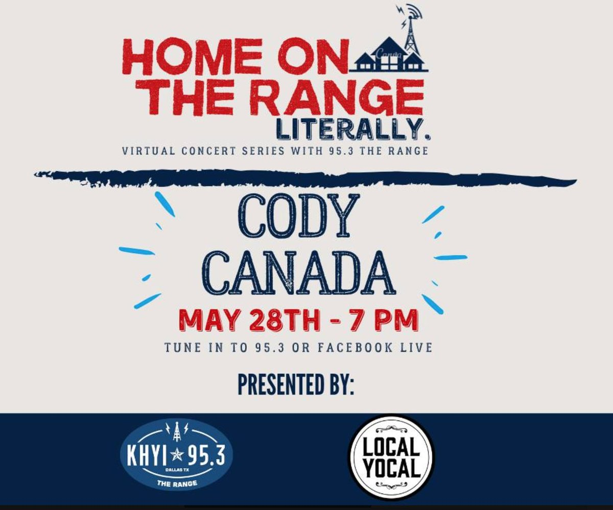 TONIGHT! Cody Canada - @departed_music - @khyi The Range #HomeOnTheRangeLiterally livestream -  https://www.facebook.com/events/546837422871935/…pic.twitter.com/pzGVBqiWx2