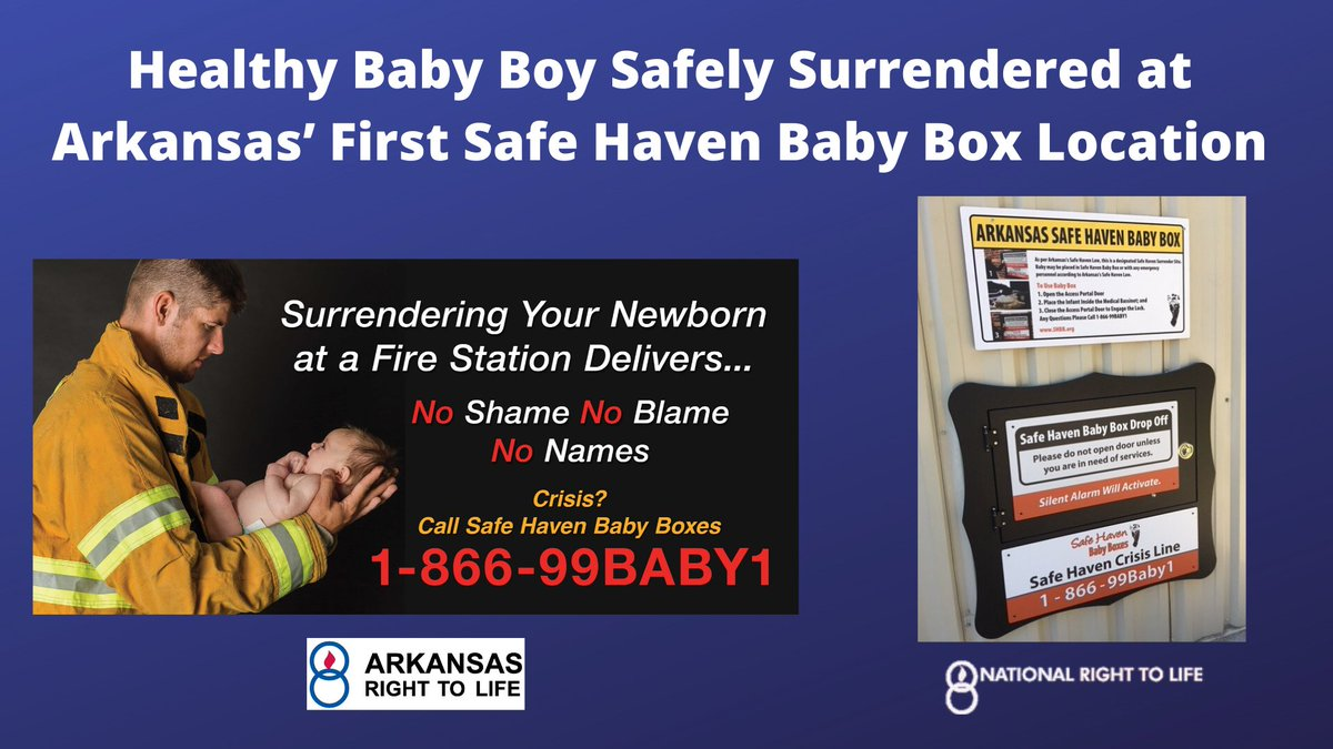 "PRO-LIFE NEWS: A baby boy has been safely surrendered at Arkansas's first ""Safe Haven Baby Box"" location in Benton. The legislation that made this possible was passed in 2019. We are glad this mother chose life! #arpx #arleg"