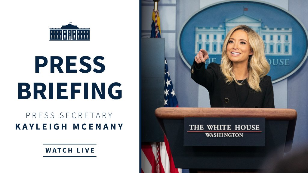 Up next—press briefing with Press Secretary Kayleigh McEnany at 2:00 p.m. ET! Watch live: 45.wh.gov/RtVRmD