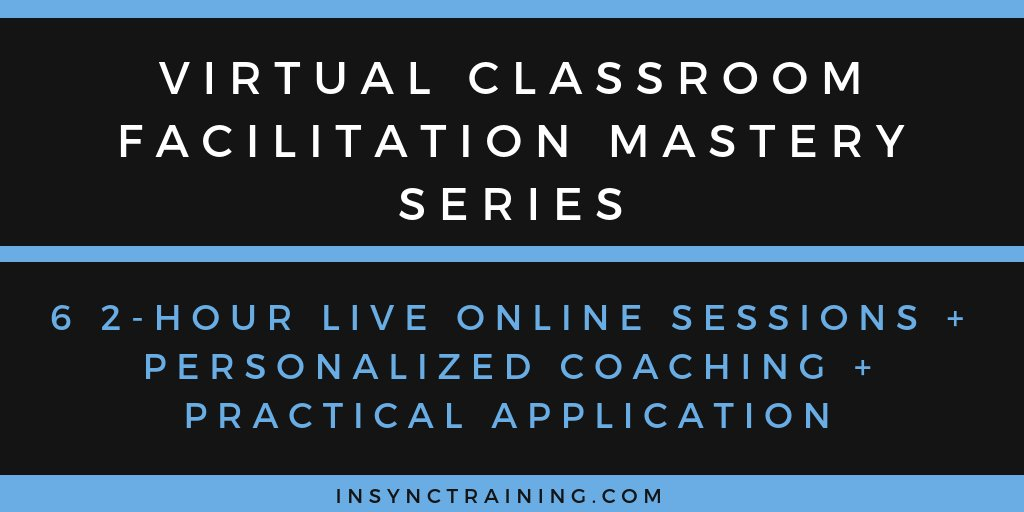 "New to #facilitating #virtuallearning? Shifting your skills from the face-to-face #classroom to the live online environment? My team at @InSyncTraining has a ""#VirtualClassroom #Facilitation Mastery Series"" program starting on June 9.   Register here: https://t.co/MMLXLg8UrR https://t.co/f0HacG6kXb"