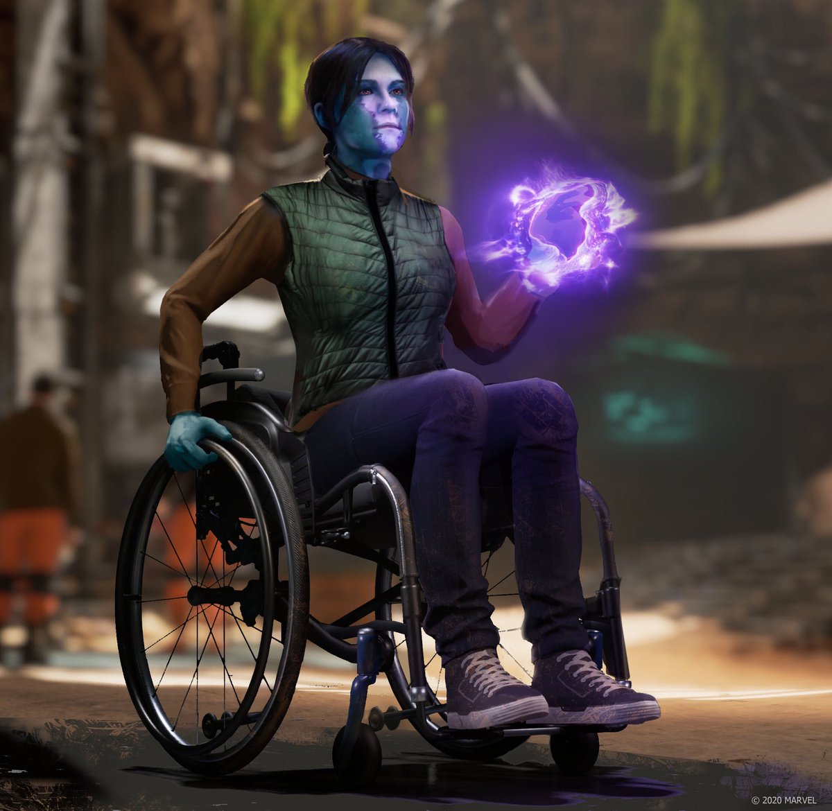 A character with special powers in a wheelchair holding some kind of ball of energy. She has blue skin, a pony tail, jeans and cute shoes. Her wheelchair is modern and sleek