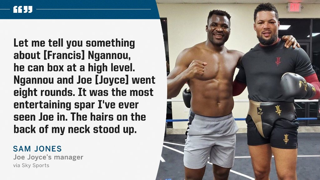 UFC heavyweight Francis Ngannou impressed Joe Joyce's camp with his boxing skills.