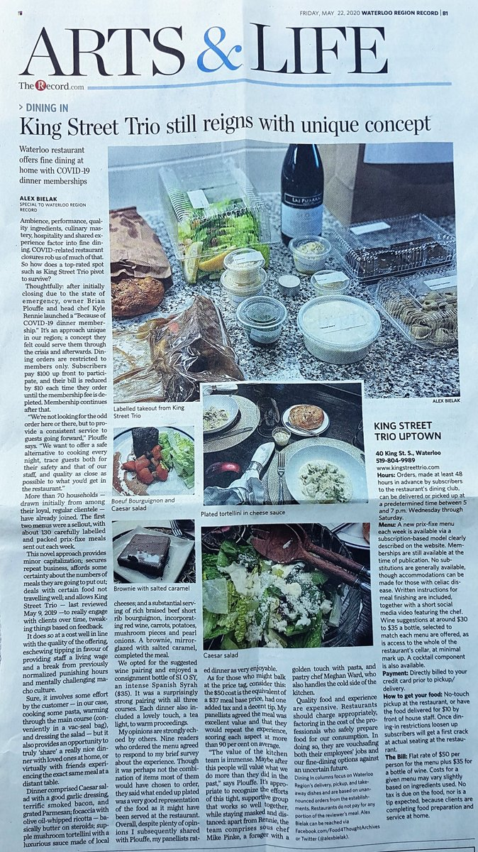 Here's my review of @KingStreetTrio in #WRAwesome from the @WR_Record last Friday. They are up to 99 members and closing in on being fully-subscribed https://www.therecord.com/life/food-wine/review/2020/05/21/dining-in-king-street-trio-still-reigns-with-unique-concept.html…pic.twitter.com/LTona6SFPN