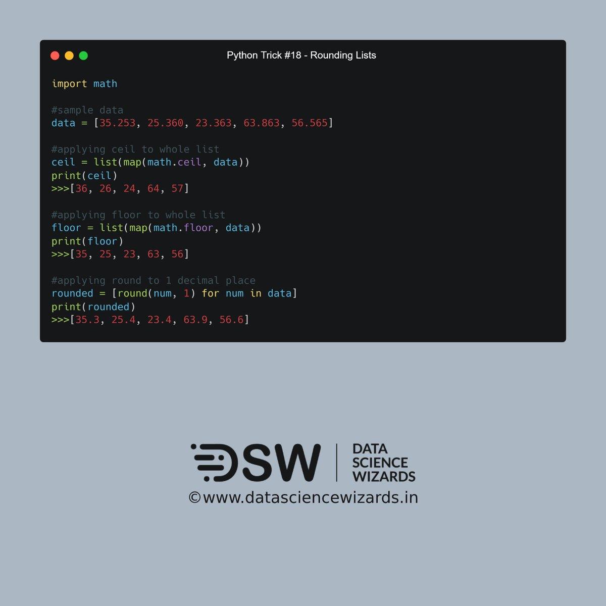 Python Trick #18 - Rounding Lists  1/4  #ArtificialInteligence #MachineLearning #DeepLearning #DataScience #NeuralNetworks #Data #AI #ML #DL #DSW #DataScienceWizards #Python #PythonTrickspic.twitter.com/WE15yvz9XB