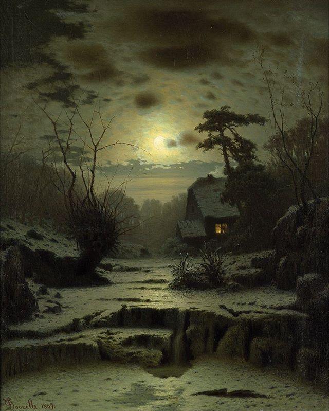 Winter Landscape by Carl Ludwig Christoph Douzette, 1869