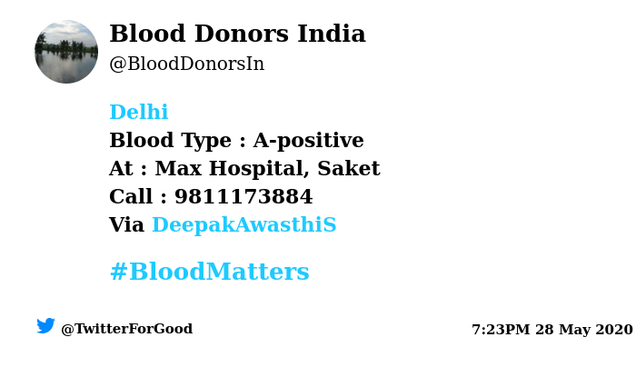 #Delhi Need #Blood Type :  A-positive At : Max Hospital, Saket  Blood Component : Need Plasma A+ve from #COVID19 recovered patient. Number of Units : 2 Primary Number : 9811173884 Illness : #Corona Via: @DeepakAwasthiS  #BloodMatters Powered by Twitterpic.twitter.com/MxgL5Ky4CK