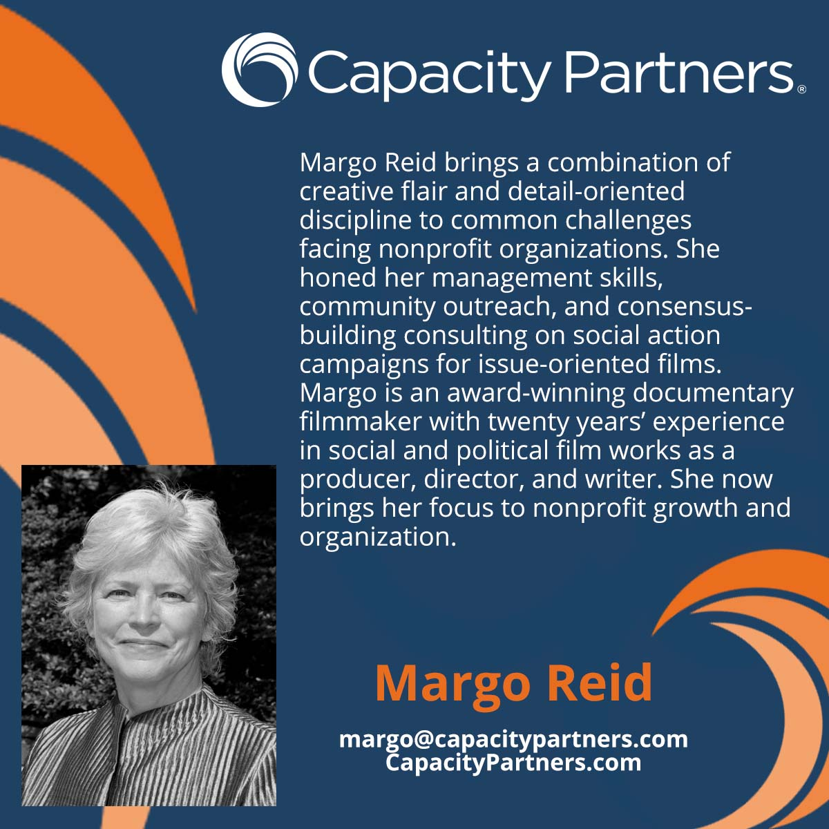 Meet Capacity Partners consultant Margo Reid. Creative, knowledgeable, and diligent, Margo gives her all to each client. #nonprofits #strategicplanning #fundraising #facilitation #consultant https://t.co/XrGfKpy4oy