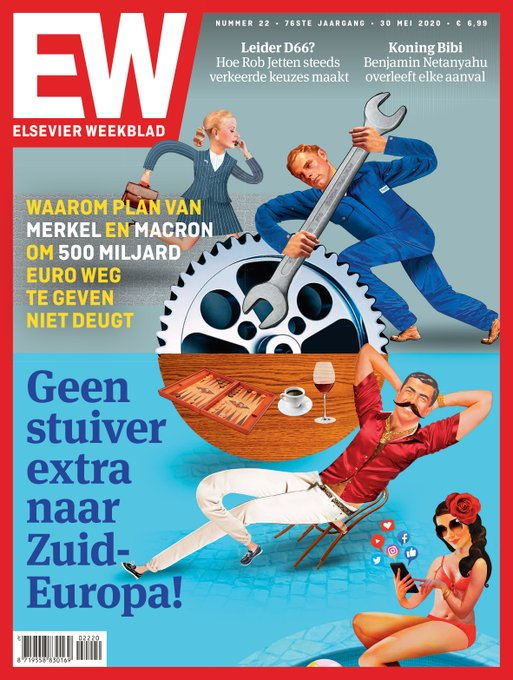 The cover of the Dutch rightwing magazine Elsevier this week. For some reason, I have the feeling that again I will have lots of explaining to do to my hardworking & productive colleagues, friends & family in Italy & Spain.