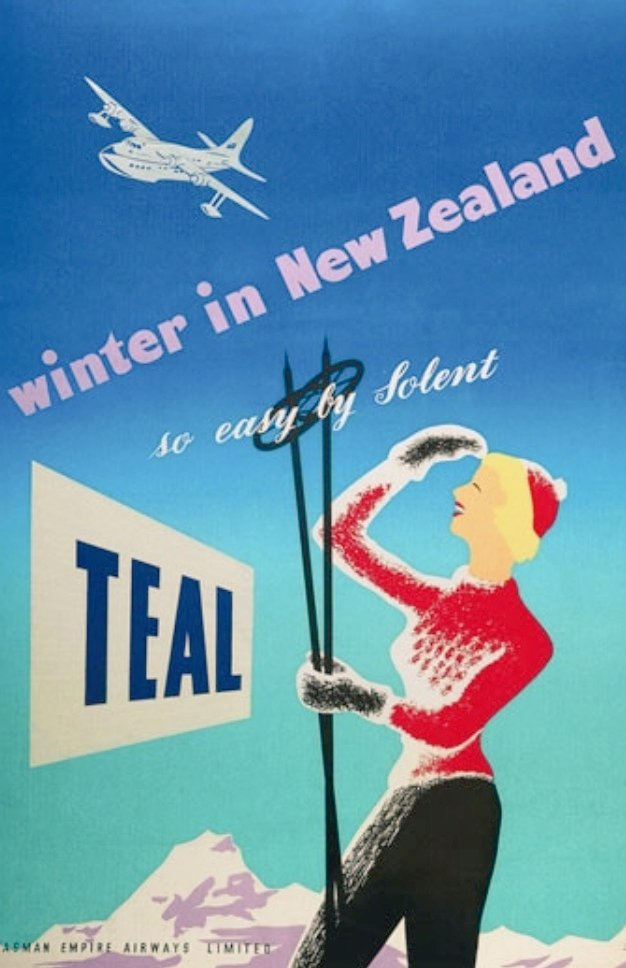 """Winter in #NewZealand, so easy by Solent"".... Shorts Solent flying boat service operated by #TEAL/Tasman Empire Airways Limited Advertising Poster.... @FlyAirNZ<br>http://pic.twitter.com/bba5e7ikmH"