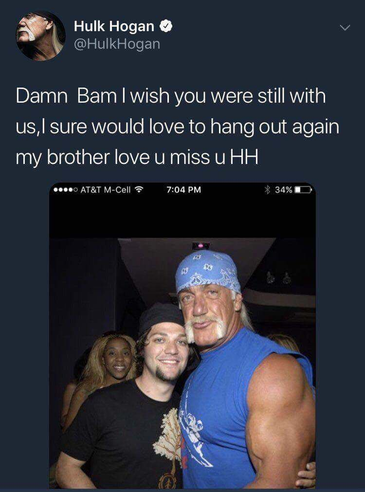 i would just like to wish the absolutely happiest two year anniversary to hulk hogan thinking bam margera was dead.  damn bam indeed. https://t.co/3s91yCCzdc