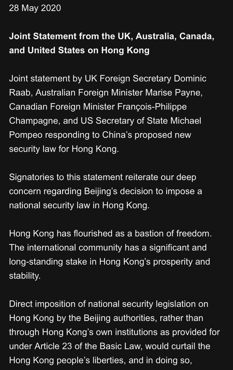Joint statement from UK, Australia, Canada and US on HK: China's decision to impose the new national security law on Hong Kong lies in direct conflict with its international obligations under the principles of the legally-binding, UN-registered Sino-British Joint Declaration. <br>http://pic.twitter.com/BJgpCuvXc4