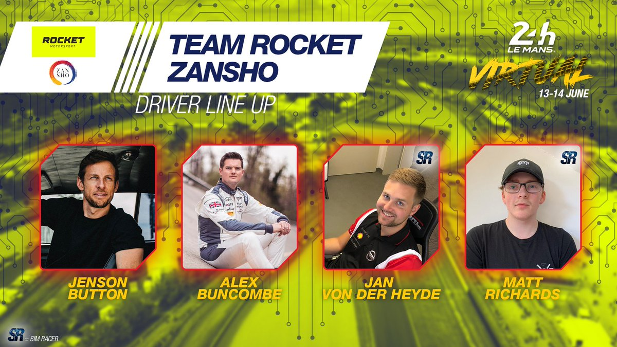 The 2009 F1 World Champion will be there too! @JensonButton x Alex Buncombe x Jan von der Heyde x Matt Richards will race for Team Rocket @ZanshoSimsport! Who's next? 😏  #LeMans24Virtual #WEC https://t.co/ySGemI3b1n