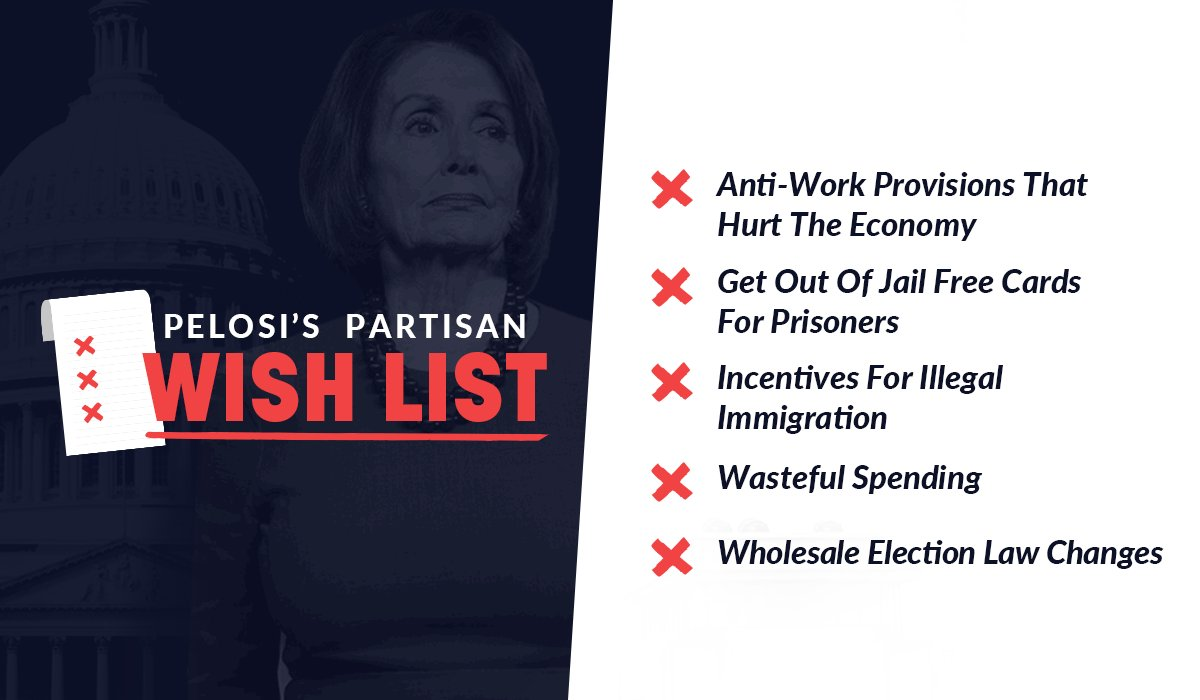 People are struggling to pay rent, make ends meet, and put food on the table. While MILLIONS of people are unemployed, Pelosi put together a partisan wishlist that never has a chance of becoming law. Here are a few things she prioritized over the American people 👇
