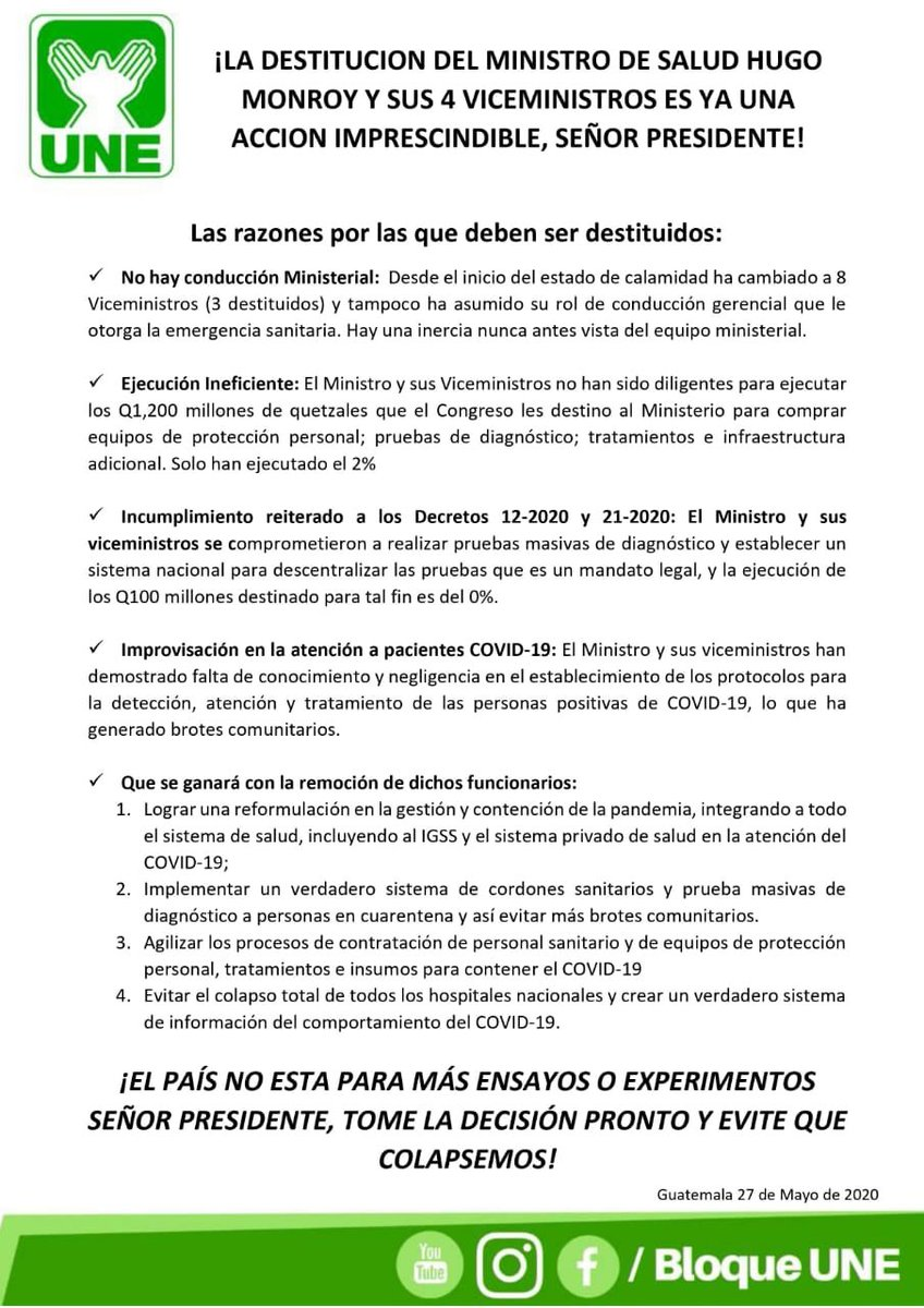 test Twitter Media - La bancada UNE también pide al Presidente Alejandro Giammattei la destitución del ministro de Salud, Hugo Monroy. https://t.co/9kHzMJisbC