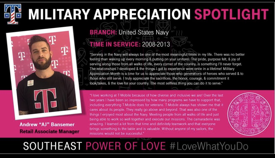 Spotlight on @AndrewBansemer, this #MilitaryAppreciationMonth. He takes pride in the lifelong relationships & experiences he gained during his service in the Navy. @Tmobile #SEPowerOfLove #WeSaluteYou and thank you for your service, AJ!