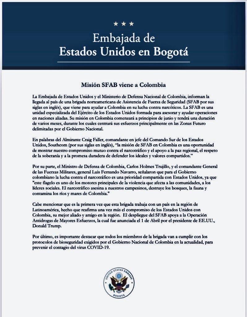 """Embajada de EEUU en Colombia anuncia la llegada al país de una brigada militar para la supuesta """"lucha contra el narcotráfico"""". Según el documento, estará en el territorio varios meses a partir de junio y el Gobierno colombiano determinará los lugares en los que operará https://t.co/2dyaBkawTE"""
