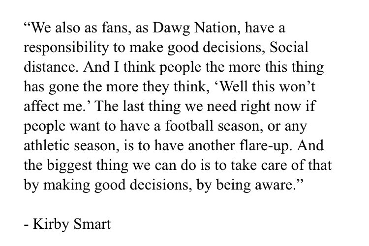 RT @SethWEmerson: I did want to share this quote from Kirby Smart just now: https://t.co/HgHYFLfjRM