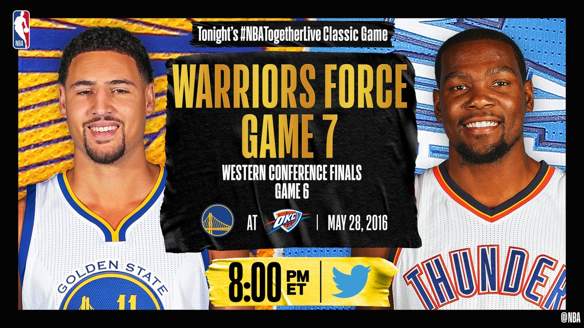 Tonight's #NBATogetherLive Classic Game will feature @warriors / @okcthunder Game 6 of the Western Conference Finals (5/28/2016)!  We're streaming it live & watching together here on @NBA at 8:00pm/et. https://t.co/abio71rgud