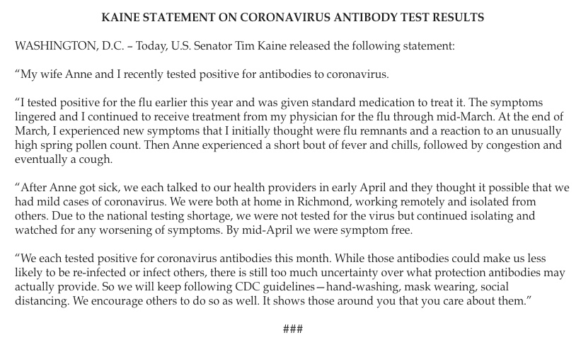 Sen @timkaine and his wife have tested positive for antibodies to coronavirus.