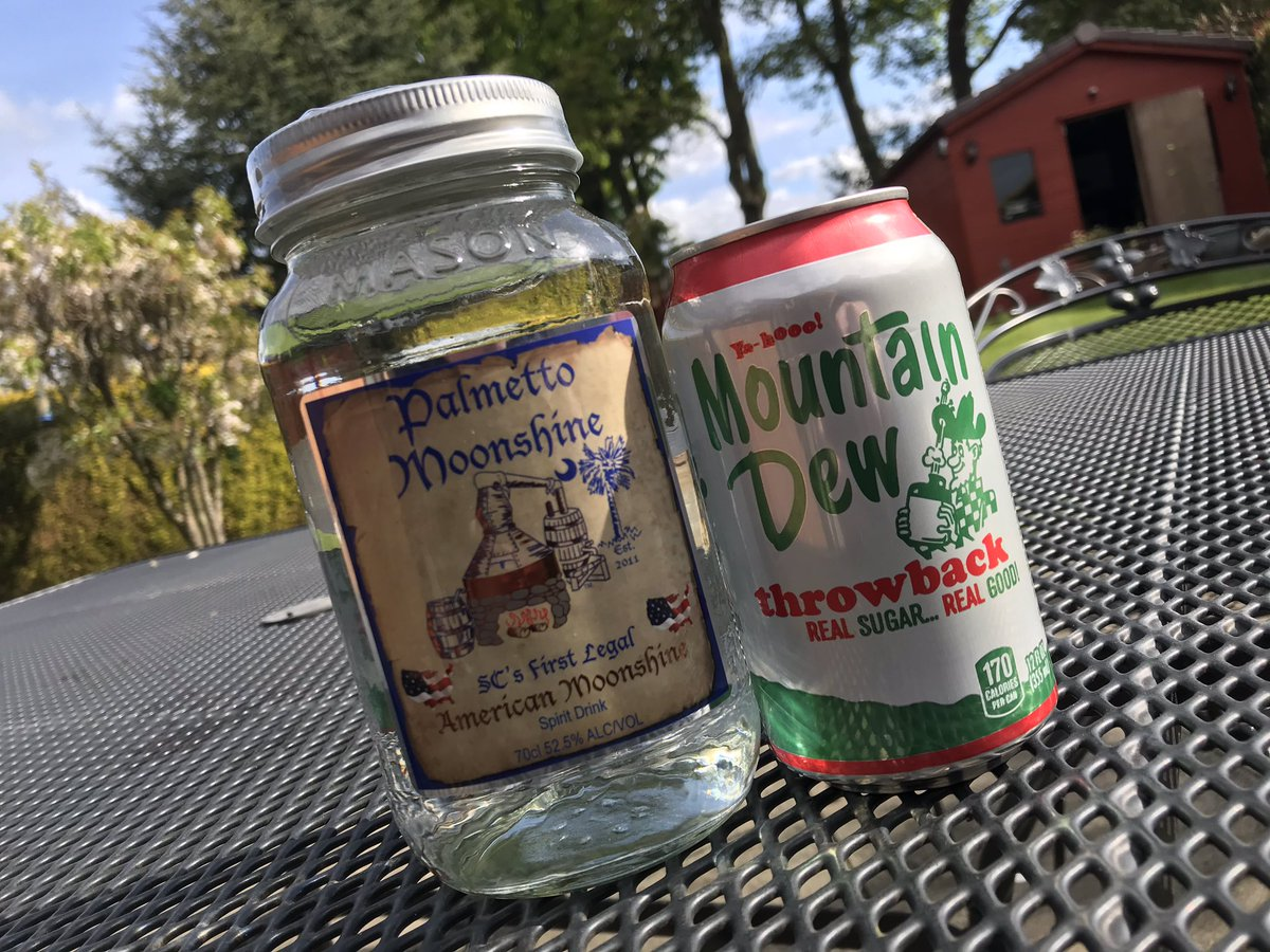 A proper moonshine throwback!  Did you know?  'Mountain Dew' was a nickname for moonshine back in the day. During prohibition, moonshiners would use the term 'Mountain Dew' so that law enforcement wouldn't know they were referring to illegal alcohol.  #shineon #mountaindew https://t.co/Cz3bpKQwv4
