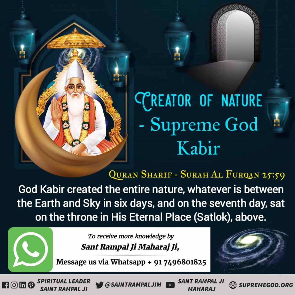#सृष्टिरचयिता_कबीरपरमेश्वर Quran Sharif- Surat Al Furqan 25, Ayat :52-59 He is Kabir GOD who is our well-wisher. He is very kind and merciful. He can destroy our miseries He only destroys our sins. - Saint Rampal Ji Maharaj Must Watch Sadhana TV 07:30PM <br>http://pic.twitter.com/ZvE8vQlOGr