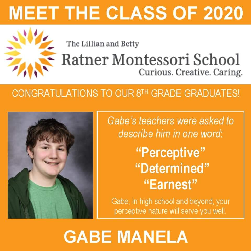 Meet Gabe Manela, Ratner Montessori Class of 2020! #RatnerTogether #Classof2020 #futurefocused <br>http://pic.twitter.com/GG7cXsOfN9
