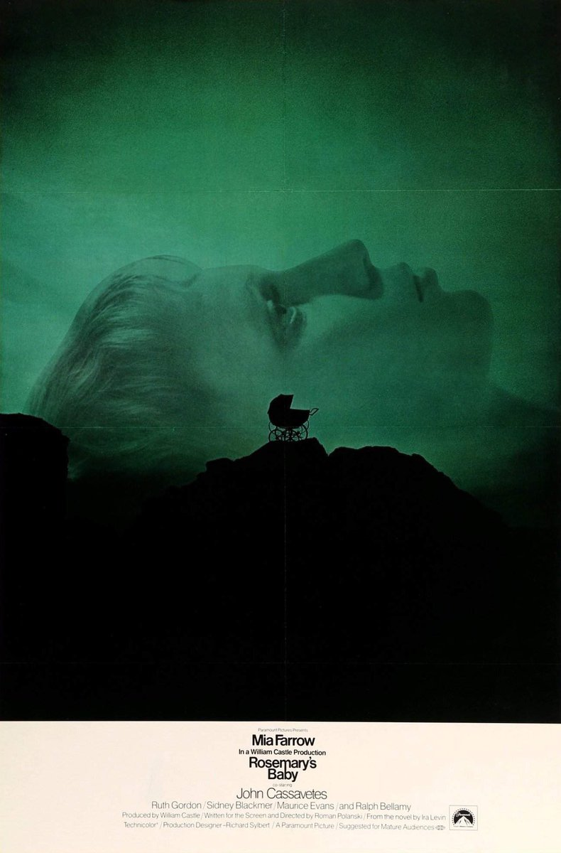 Double bill for the day: Rosemary's Baby (1968) & The Stepford Wives (1975). Superb paranoid thrillers based on Ira Levin novels. First, Mia Farrow suspects an evil cult wants to take her baby. Then, Katherine Ross moves into a new community strangely full of blonde trophy wives.