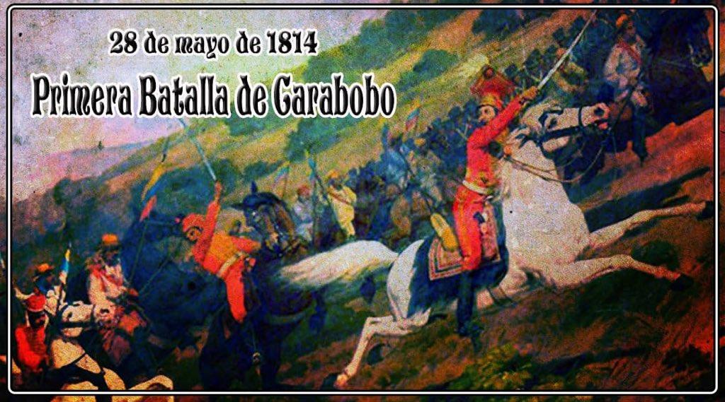 Al mando de unos 5.000 soldados patriotas y con líderes de la estirpe de Urdaneta, Jalón y Bermúdez; Bolívar con gran astucia, además de la valentía de la infantería por resistir el ataque de la caballería enemiga, vence a Juan Manuel Cajigal en la primera Batalla de Carabobo. https://t.co/LqHlWWpzPY