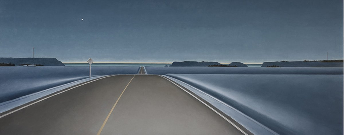 Another Canadian icon...  Christopher Pratt (and husband of Mary Pratt), maestro of the vastness of our land.  Serene, minimal, sublime...  This painting, could be a highway anywhere in Canada. <br>http://pic.twitter.com/g6SDmIacRp