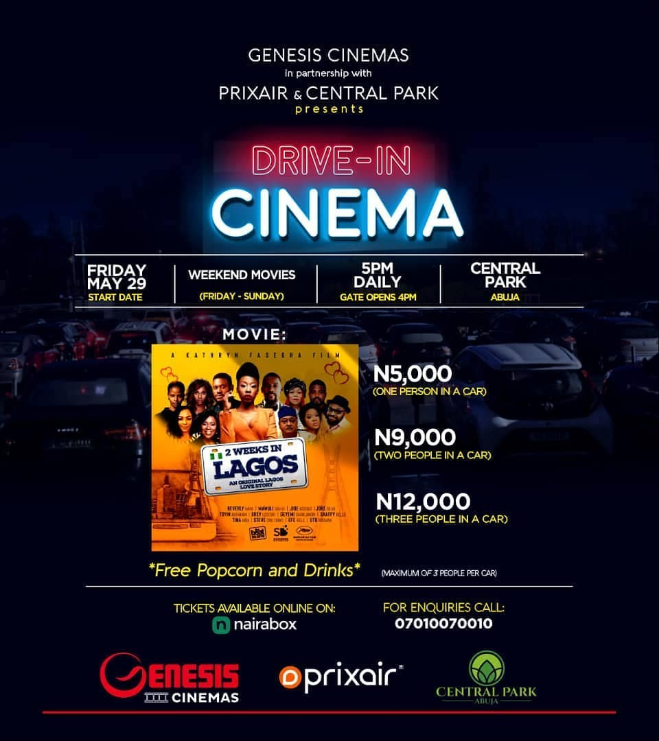 It's almost here guys... This Friday! The #DriveInCinema powered by @genesiscinemas in partnership with @prixair_media and @centralparkabuja comes to the city of Abuja. . Hurry now! Tickets selling fast. Visit @nairabox online to secure yours NOW!pic.twitter.com/F7RqKo6Qei