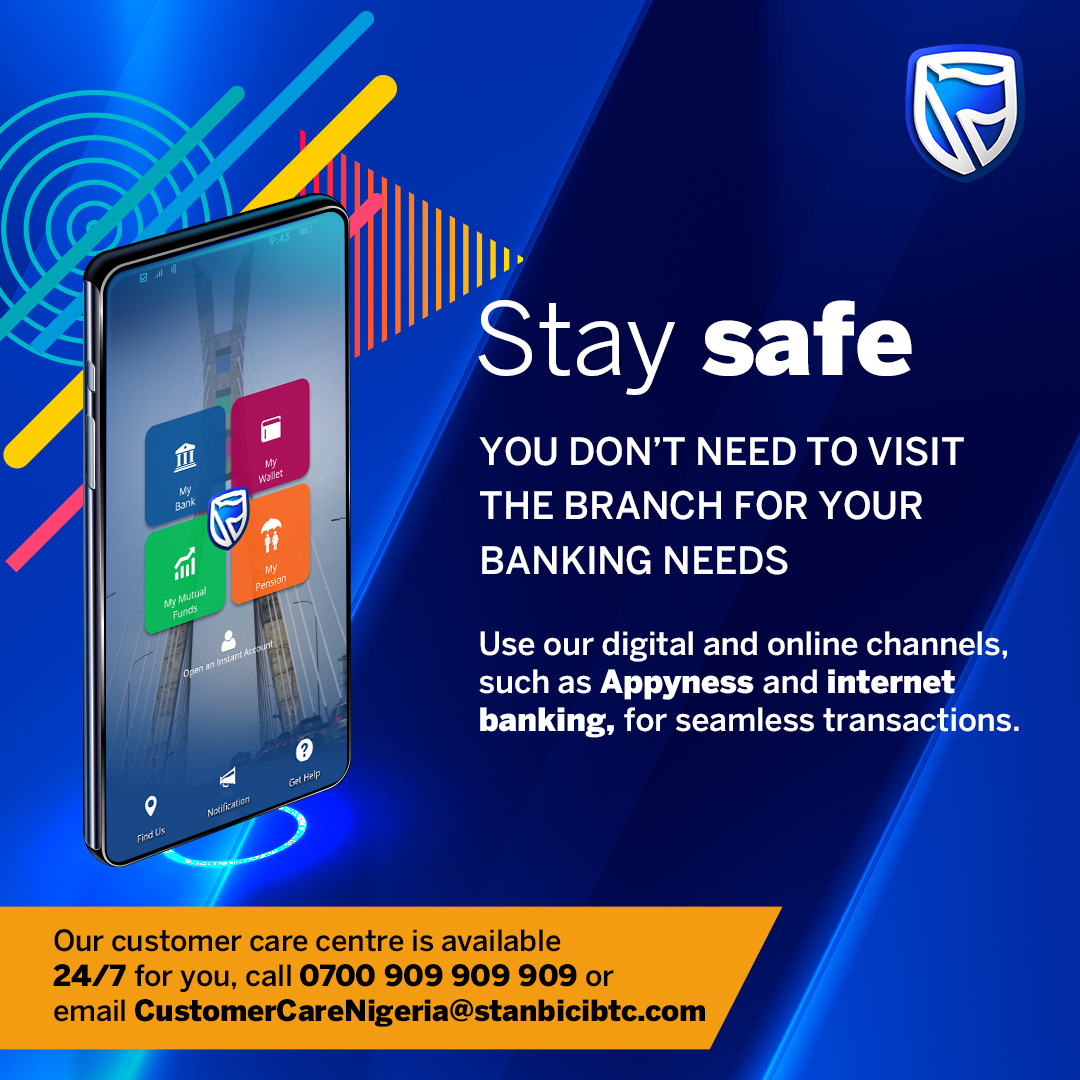 #StaySafe, get all your banking needs done within the comfort of your home. Use #APPyness, internet banking and *909#.