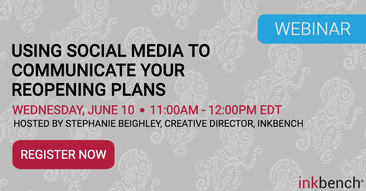 Are you feeling overwhelmed by #socialmedia? Need help knowing how to create a content #strategy that communicates your reopening plans? Join us June 10 at 11 am. est #digitalmarketing Register here https://www.inkbench.com/social-media-reopening-franchises-webinar/?utm_source=twitter&utm_medium=social&utm_campaign=franchise_webinar…pic.twitter.com/OqGdajdsW2