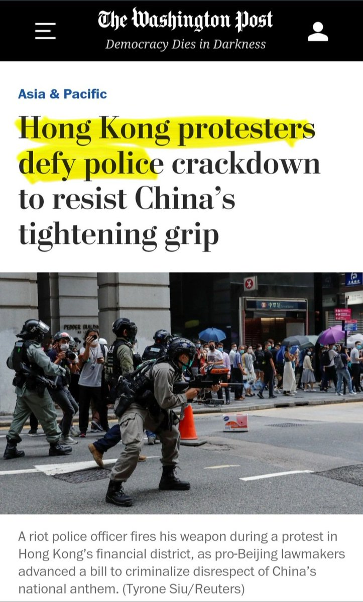 This is how the Washington Post today describes the Hong Kong vs. Minneapolis protests: The HK protestors bravely defy a police crackdown to resist China while the George Floyd protestors vandalize & are looters who ransacked a Target while ignoring peaceful resolutions.