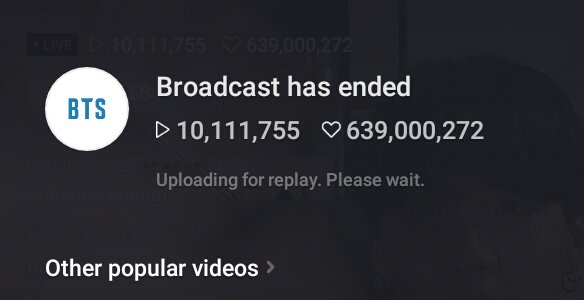 SUGA's live has ended with 10.1M viewers and 640M likes becoming the Most viewed solo broadcast on vlive in realtime. watch here: vlive.tv/video/193808