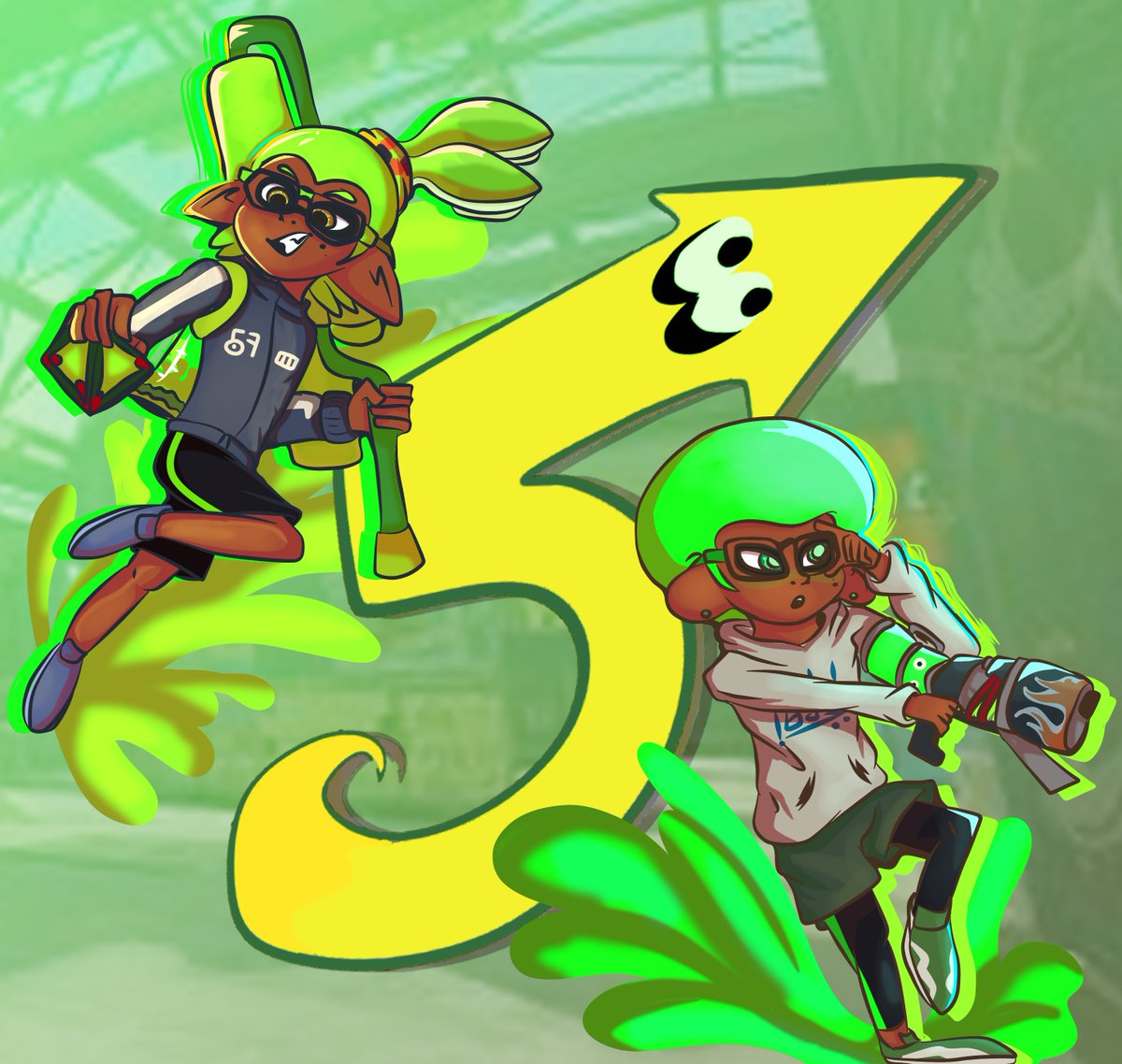 It's finally the day! Happy five years #Splatoon !! This game inspired many and upcoming people to play, draw, and even write! Thank you for these amazing five years!! And here are many more years to come! #SplatArt #SplatoonArt #DigitalArt