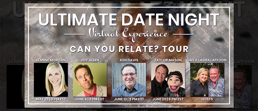 Starting TONIGHT: Ultimate Date Night Virtual Experience, with @JayandLaura!  Do you have tickets? https://t.co/62qweNw1Ve  5/28 - @LeanneComedy 6/6 - @JeffAllenComedy 6/13 - @KenDavisLive 6/20 - @masonites  #Simulcast #Webinar #Virtual #VirtualExperience #Comedy #Comic #Clean https://t.co/PZQhV1fevv