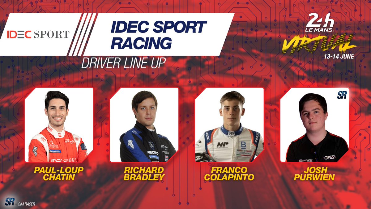 One more lineup sorted. @IDECSportRacing with @paulloup_chatin @rbrads69, Franco Colapinto and Josh Purwien. Let's do this! But...who's next?  #LeMans24Virtual #WEC https://t.co/Df9QTVtnfS