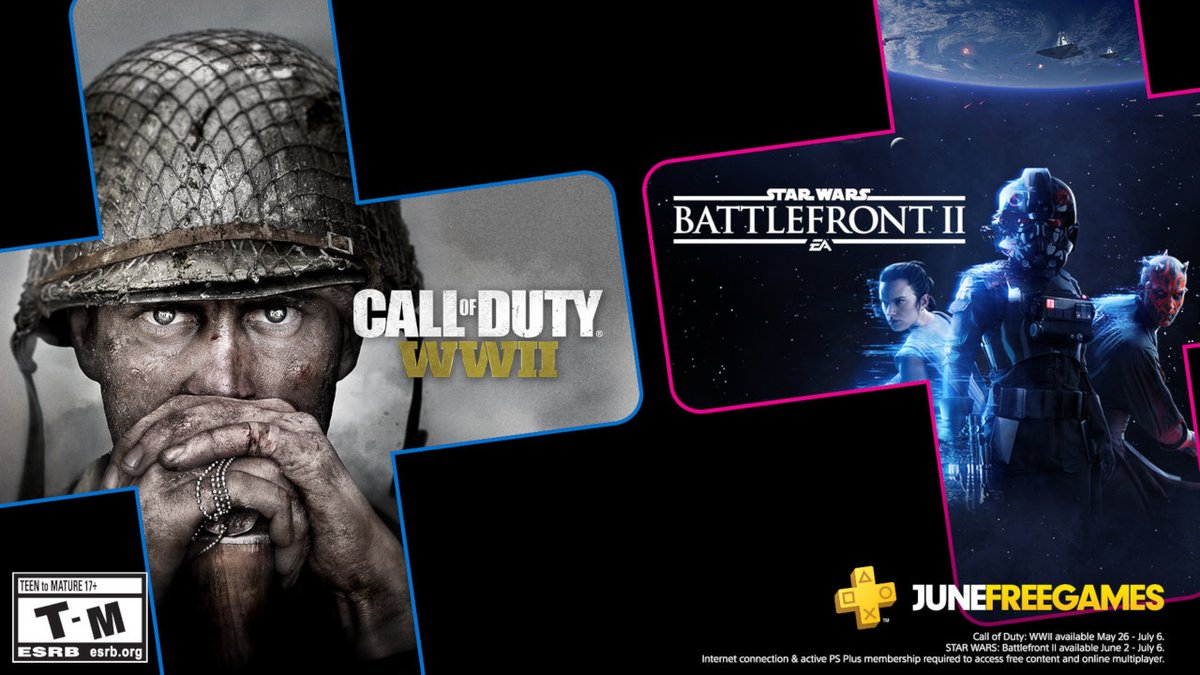 Star Wars Battlefront II and Call of Duty: WWII are your PS Plus games for June. Full details on this month's lineup: https://t.co/pBXcZWFpnC https://t.co/pj36qR99cB