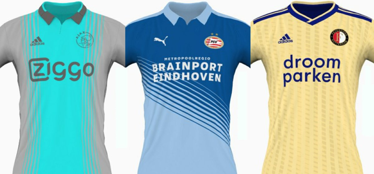 Do we invite only the WORSE designers to design the AWAY kits from footballsquads? These are the shirts from Dutch Top3 (#Ajax, #Feyenoord, #PSV). No character or creativity involved. pic.twitter.com/UbBn0B2gU1