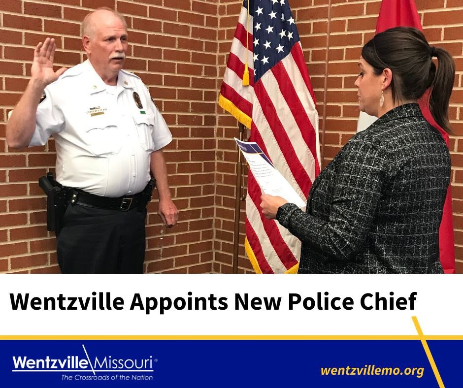 At last night's Board of Aldermen meeting, the Board approved the Mayor's appointment of Paul West as the new Chief of Police of #Wentzville.  To read the full release, visit http://www.wentzvillemo.org/pressreleases. Congratulations, Chief West! #wentzvillemo #toprotectandserve #WeAreWentzvillepic.twitter.com/LY1szqjRzF