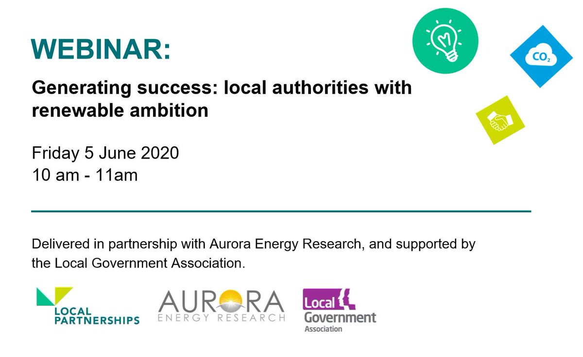 "Investment for renewable energy projects is becoming increasingly popular to meet climate targets & generate income to support service provision.  #WEBINAR ""Generating success: #LocalGov with renewable ambition"" will take place on 5 June  More information: https://t.co/IwZOuQYumg"