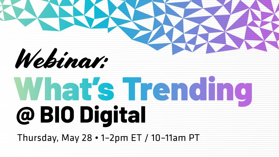 Join the webinar What's Trending @ BIO Digital, TODAY at 1 pm ET for an in-depth look at #BIODigital plus an update from BIO's head of industry analysis @DavidThomasCFA 👀 Sign Up: https://t.co/rxMM5lzYhG https://t.co/2VHAntWLRk