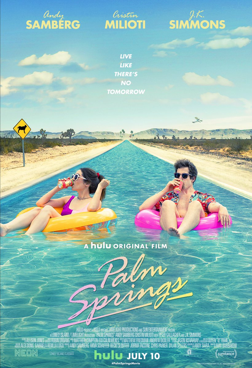 Andy Samberg and Cristin Miliotis #PalmSprings (100%) will premiere July 10 on Hulu.