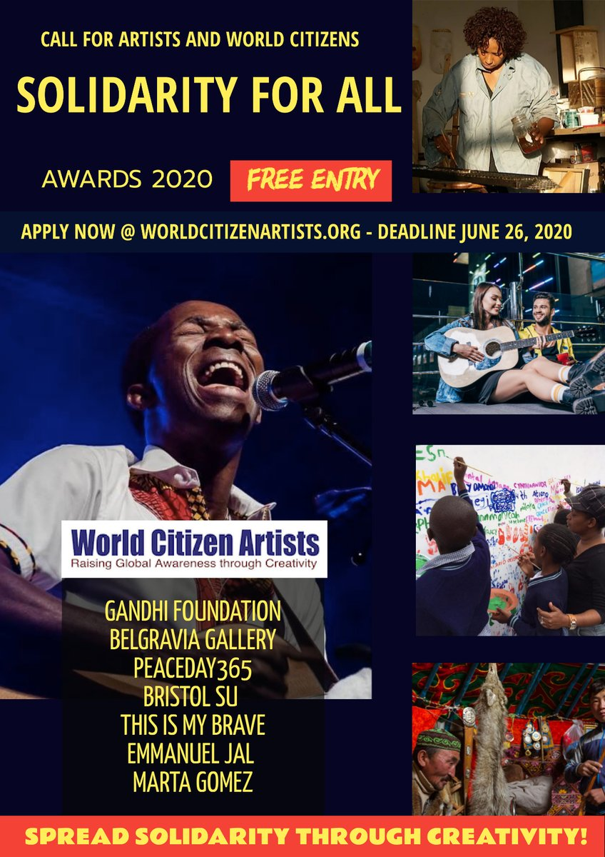 SOLIDARITY FOR ALL - AWARDS 2020 Deadline Extension: June 26, 2020 #artists #musician #visualart #hiphop #Reggae #rock #Soulmusic #painting #sculptures #songwritingpic.twitter.com/KA8pLAfZbZ