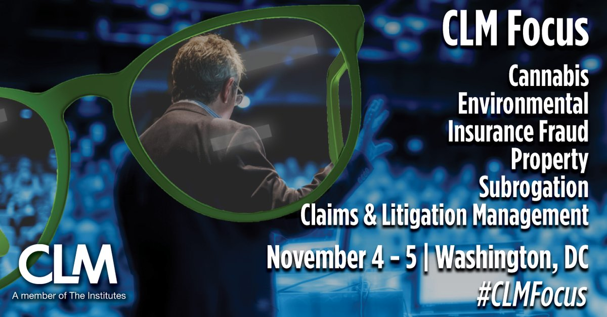 LAST CHANCE to submit proposals for November CLM Focus event in DC featuring #ClaimsManagement and #LitigationManagement issues in: * Cannabis * Environmental * Insurance Fraud * Property * Subrogation * Claims + Litigation Management   Due: TOMORROW. https://bit.ly/3fq9yQZ pic.twitter.com/NiGd9YUymw