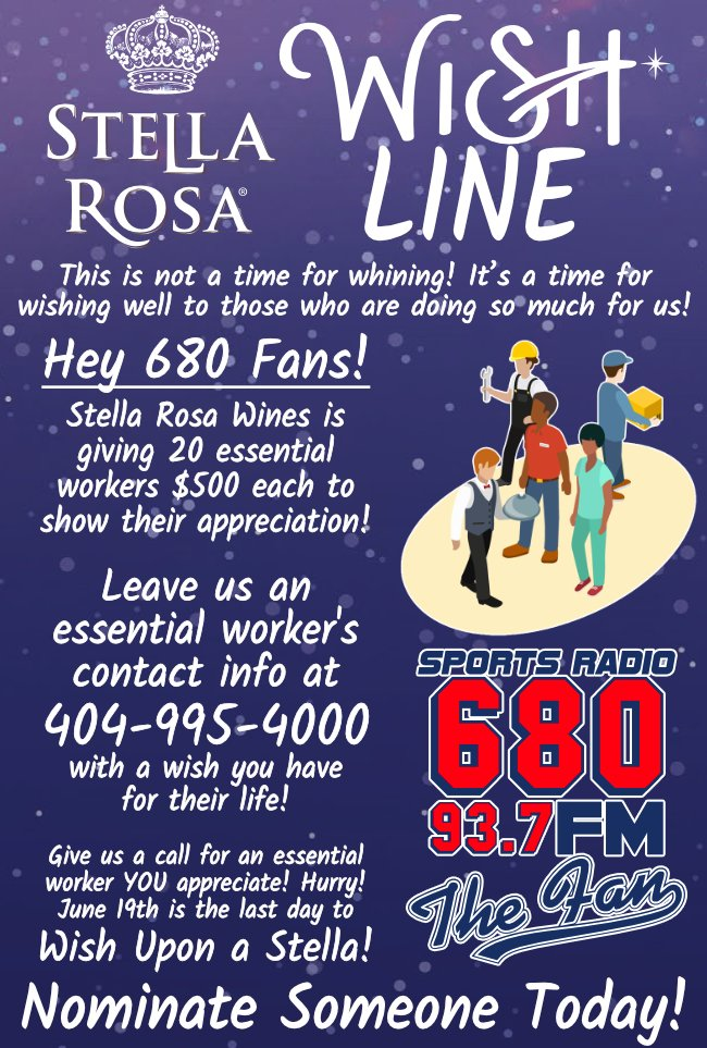 Do you know an an Essential Worker that could use $500?! Nominate them today! Courtesy of @stellarosawines! Enter Here: 680thefan.com/stellarosa/