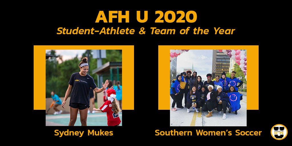 Congratulations to the #AFHU 2019-20 Student-Athlete of the Year, @lsuvolleyballs @SydneyMukes19 and Team of the Year, @SouthernUsports Womens Soccer team. #AFHUAwards